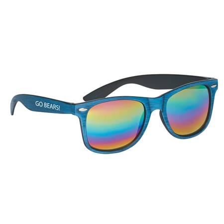 Colored Wood Tone Mirrored Malibu Sunglasses