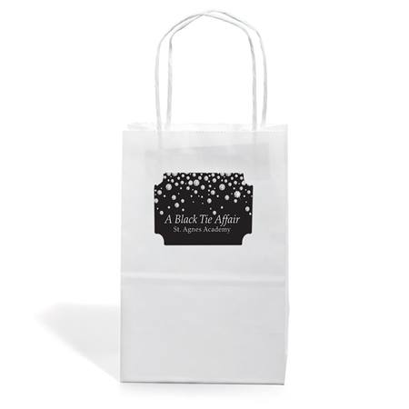 Small White Kraft Bag with Rectangle Sticker