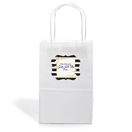 Small White Kraft Bag with Full-color Custom Sticker