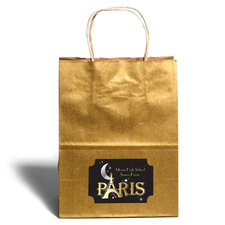 Large Gold Kraft Bag with Rectangle Sticker