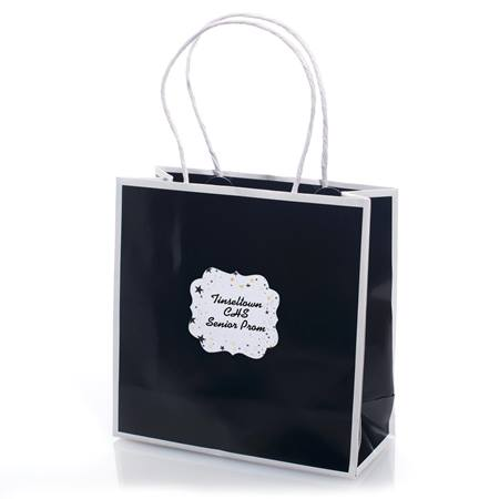 Favor Bag With Personalized Sticker - Black