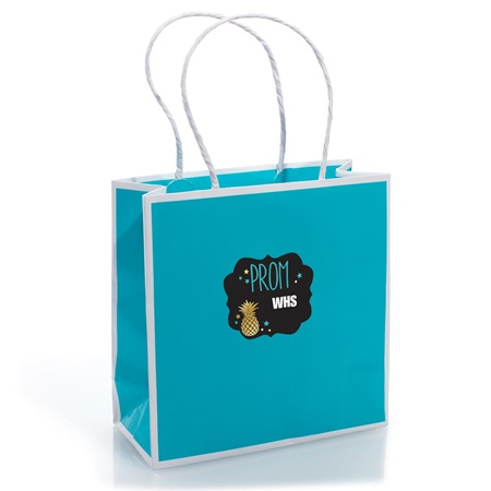 Favor Bag With Personalized Sticker - Turquoise