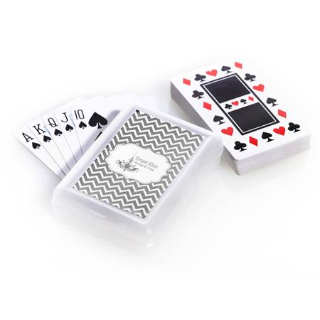 Playing Cards and Case With Metallic Foil Label - Silver Chevron