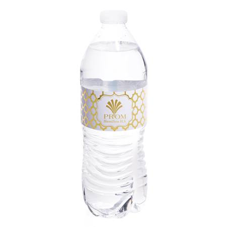 Metallic Foil Water Bottle Label - Moroccan