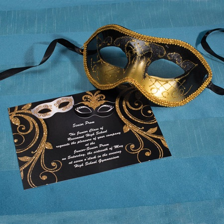 Masquerade Invitation and Mask Set