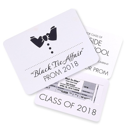 Black Tie Fold-over Invitation with Ticket