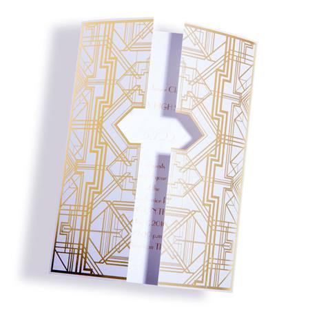 Golden Lines White Invitation