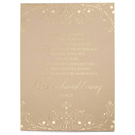 Gold Floral Flourish Invitation