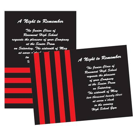 "5"" x 7"" Red and Black Striped Invitation"
