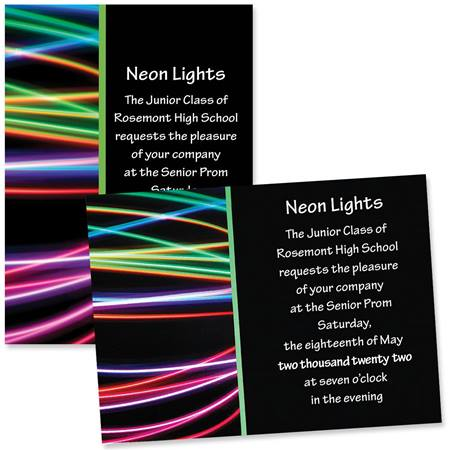 "5"" x 7"" Invitation - Neon Streaks"