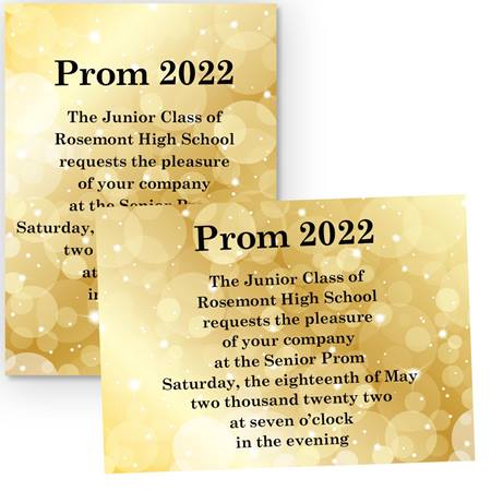 "5"" x 7"" Invitation - Gold Bubbles"