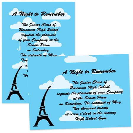 "5"" x 7"" Umbrellas Over Paris Invitation"