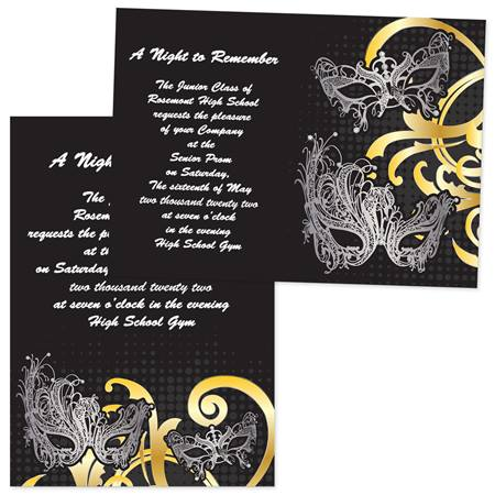 "5"" x 7"" Invitation - Silver Masks"