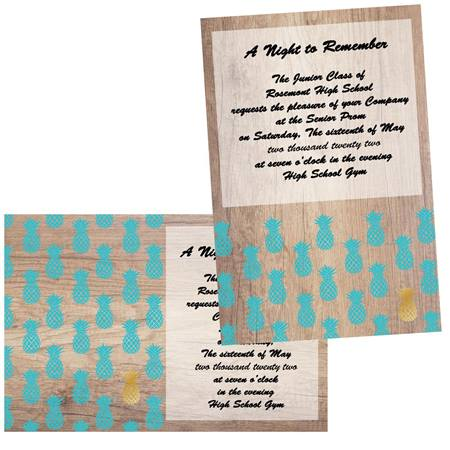 Teal and Gold Pineapples 5x7 Invitation