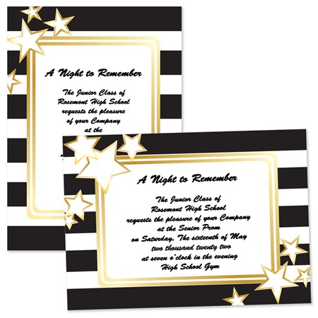 Black and White Stripes 4x6 Invitations