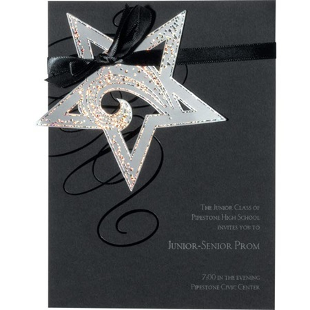 Hanging Star Invitations - Silver