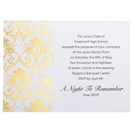 Gold Damask Foil Invitation