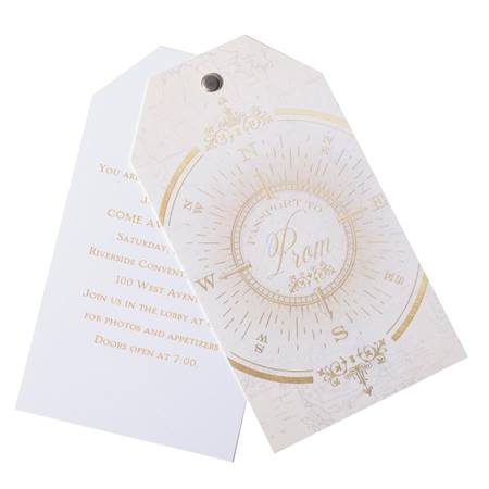 Vintage Compass Twist and Reveal Invitation