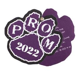 Paw Twist Prom Invitation - Purple/White