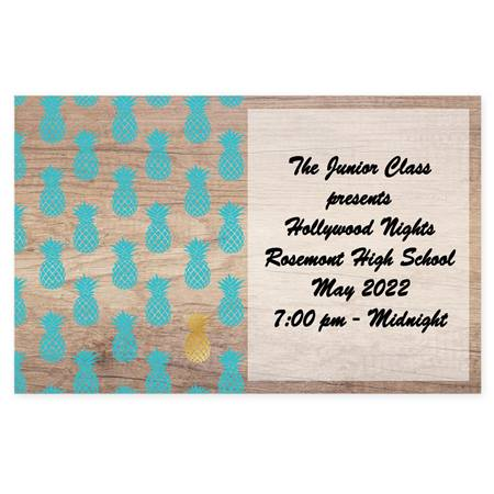 Full-color Ticket - Teal and Gold Pineapples