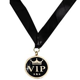 "Gold ""VIP"" Bling Medallion With Strap and Case"