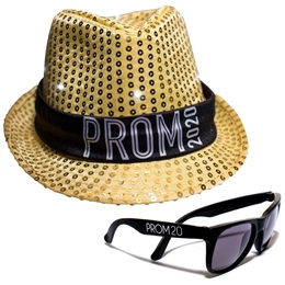 Light-up Prom Fedora and Sunglasses Set - Gold