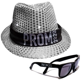 Light-up Prom Fedora and Sunglasses Set - Silver