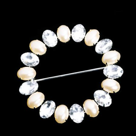 Pearl and Rhinestone Sash Buckle
