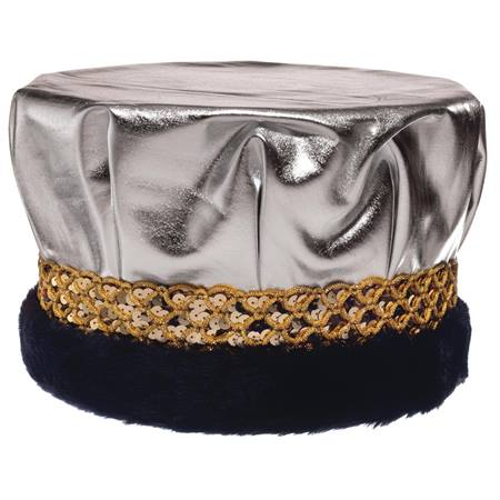 Metallic Crown With Gold Band and Black Fur