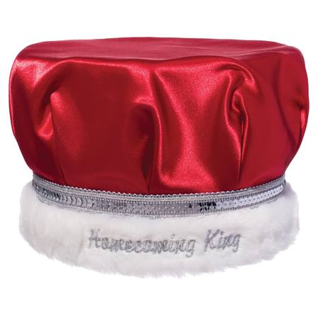 Embroidered Homecoming King Crown - Red Satin/Silver Band