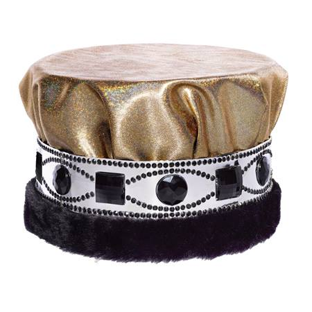Glitter Dust Crown With Jeweled Band - Black/Gold With Black Fur