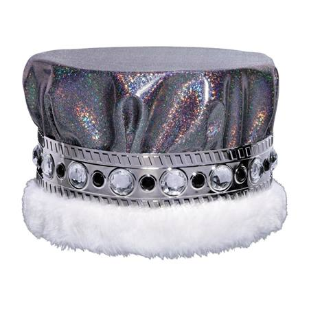 Black Silver Glitter Dust Crown With White Fur And Jeweled
