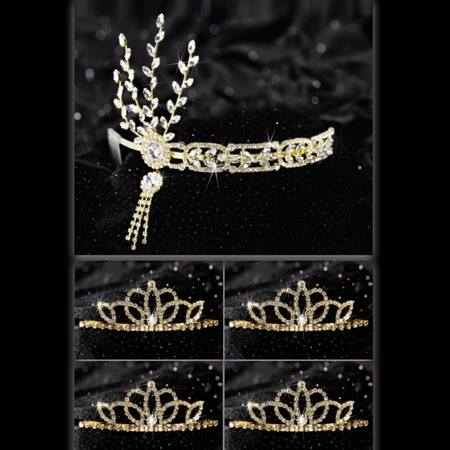 Gold Daisy Queen and Court Tiara Set
