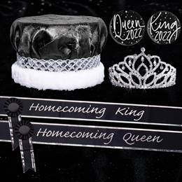 Homecoming Royalty Set with Sashes and Buttons - Mirabella Tiara/Metallic Crown