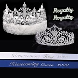 Homecoming Royalty Set with Sashes and Pins - Elsa Tiara/Fleur-de-Lis Crown