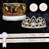 Homecoming Royalty Set with Sashes and Pins - Gold Adele Tiara/Gold Metallic Crown