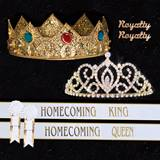 Homecoming Royalty Set with Sashes and Pins - Gold Cameo Perfect Tiara/Charlemagne Crown