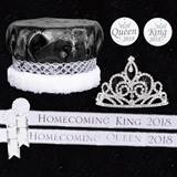 Homecoming Royalty Set with Sashes and Buttons - Sutton Tiara/Crushed Satin Crown
