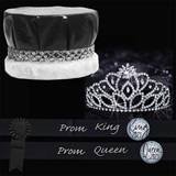 Royalty Set: Cassandra Tiara with Black and Silver Sashes