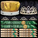 King and Queen Prom Coronation Set with Buttons - Gold Adele/Chelsey