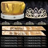 King and Queen Prom Coronation Set with Pins - Gold Adele/Gold Alisa