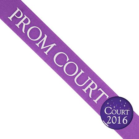 Prom Court Sash with Button Set - Purple