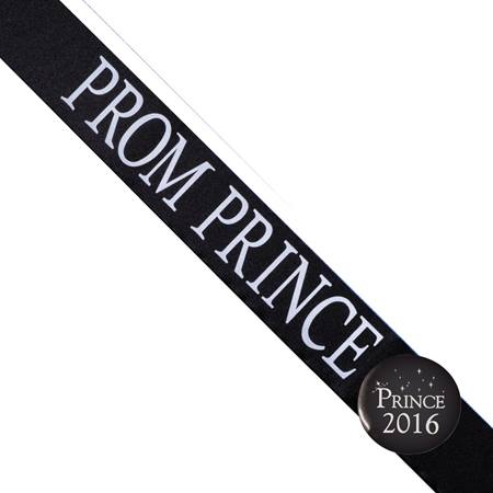 Prom Prince Sash with Button Set - Black