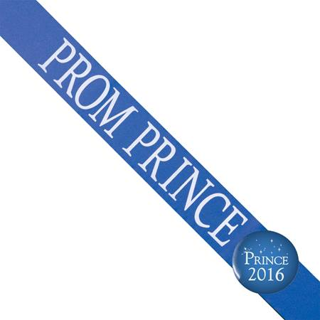 Prom Prince Sash with Button Set - Blue