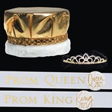 Royalty Set: Adele Tiara with White and Gold Sashes