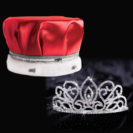Adele Tiara and Crown Set - Red Satin
