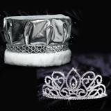 Adele Tiara and Crown Set - Silver Metallic