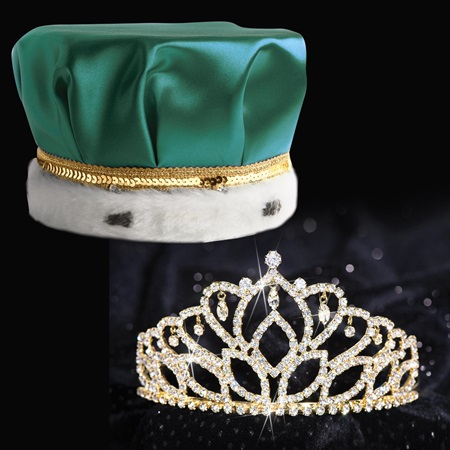 Gold Mirabella Tiara and Crown Set - Satin Crown