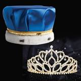 Gold Mirabella Tiara and Crown Set - Blue Satin Crown