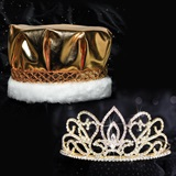 Gold Adele Tiara and Crown Set - Metallic Crown
